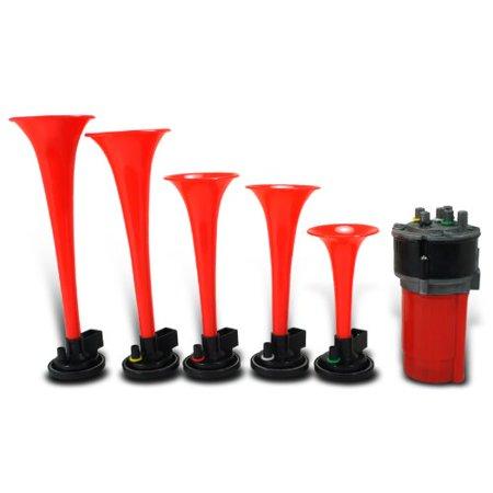 Dixie Horn (5Pcs Dukes Of Hazzard Trumpets 12V 125Db Musical Dixie Horn Red+Air Compressor )