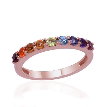 925 Sterling Silver Rose Gold Plated Round Garnet Multi Gemstone Fashion Ring For Women