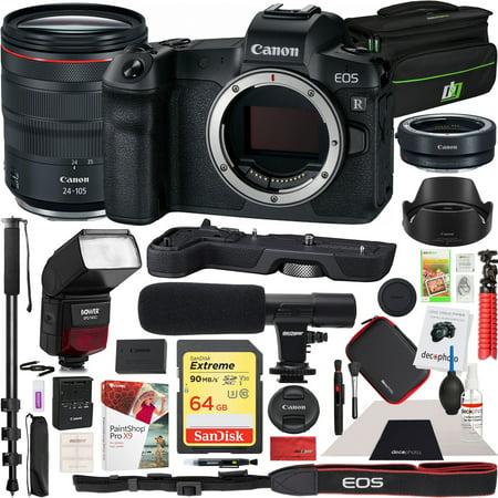 Canon EOS R Full-Frame Mirrorless Digital Camera with RF 24-105mm F4 L IS USM Lens Kit and EF-EOS R Adapter & Extension Grip EG-E1 and Bower TTL Speedlite Flash Deco Gear Case Microphone