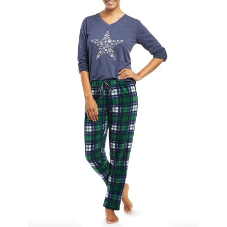 Women's Star Snowflake 2-Piece Pajama Set (Navy) for $<!---->