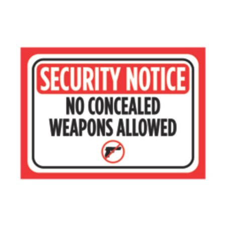 Security Notice No Concealed Weapons Allowed Print Red