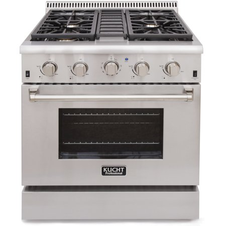 30' Double Oven Gas Range - KUCHT Professional 30 in. 4.2 cu. ft. LP Gas Range with Sealed Burners and Convection Oven in Stainless Steel
