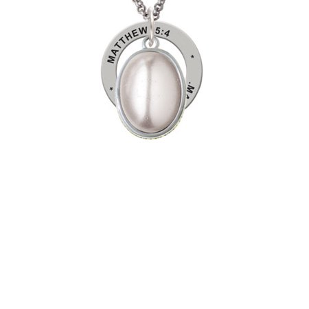 - Silvertone Small Grey Imitation Pearl Matthew 5:4 Affirmation Ring Necklace