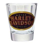 Harley-Davidson Beveled Shot Glass, Retro H-D Oval, Short 1.5 oz.  SG10171