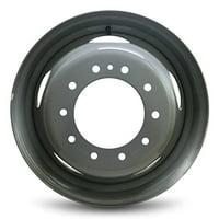 New 19.5x6 Dodge Ram 4500 (08-16) Ram 5500 (08-16) Truck 10 Lug 5 Slot DRW Dually Gray Steel Wheel OEM Replica Replacement Rim