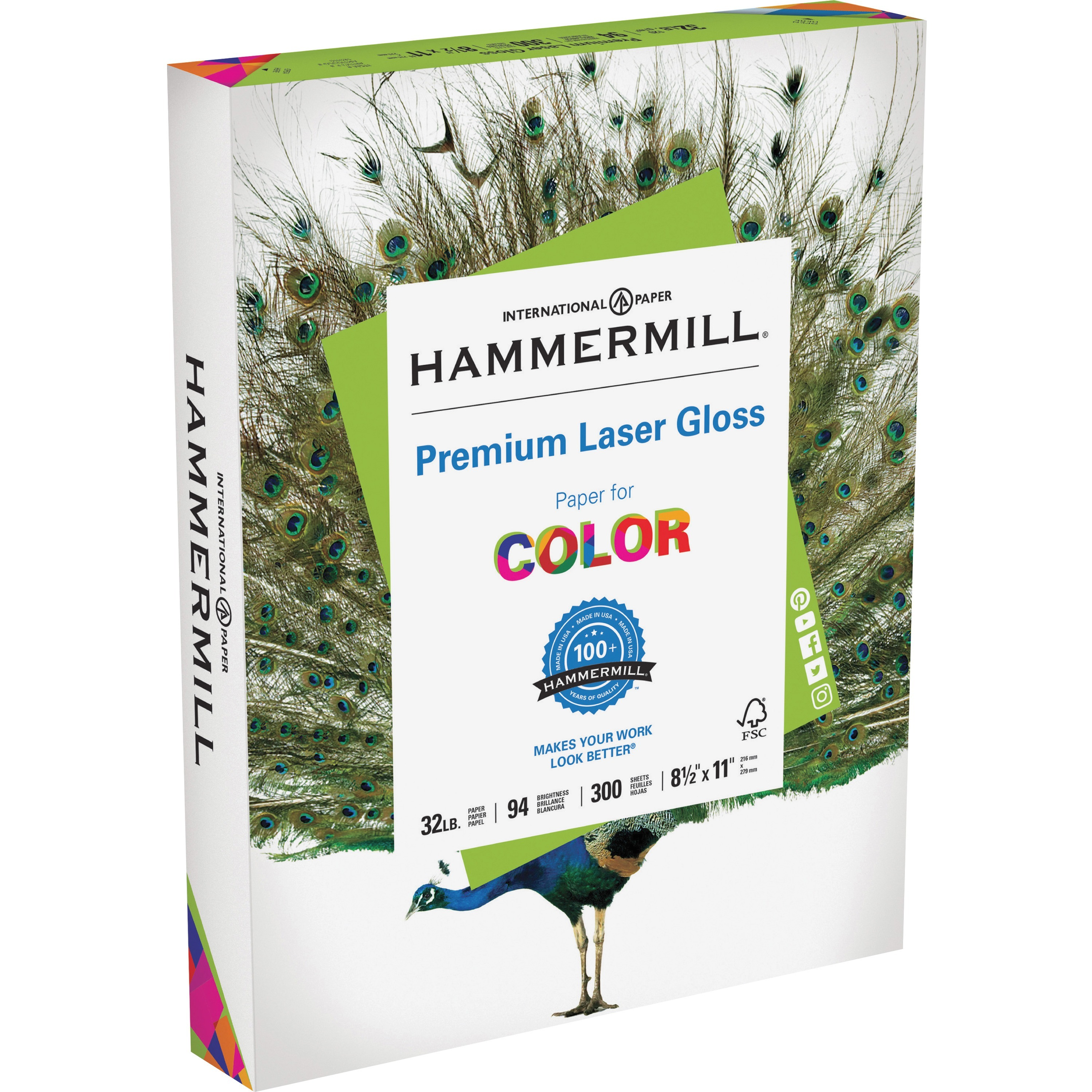 Hammermill, HAM163110, Color Laser Gloss Paper, 300 / Pack, White
