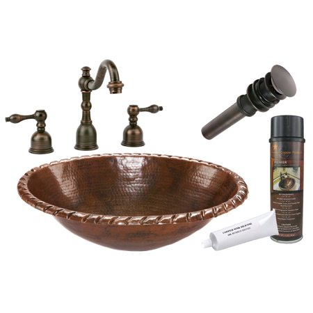 Premier Copper Products - BSP2_LO19RRDB Bathroom Sink, Faucet and Accessories Package
