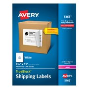 "Avery Shipping Labels, Permanent Adhesive, 8-1/2"" x 11"", 100 Labels (5165)"