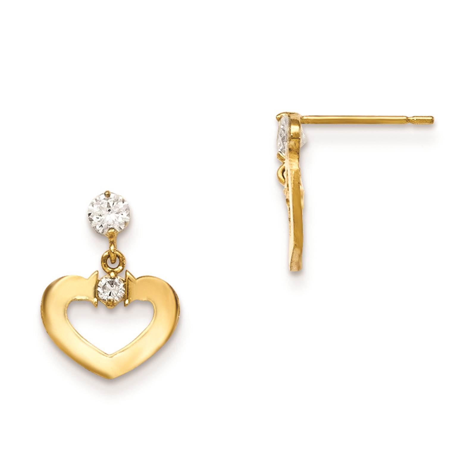 Madi K 14k Yellow Gold & Children's Heart Dangle Post Earrings