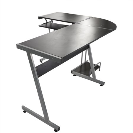 Ktaxon L-shaped Concise Corner Computer Desk Laptop PC Table Flat Shape Table Leg Wooden Desktop Black - image 3 de 5