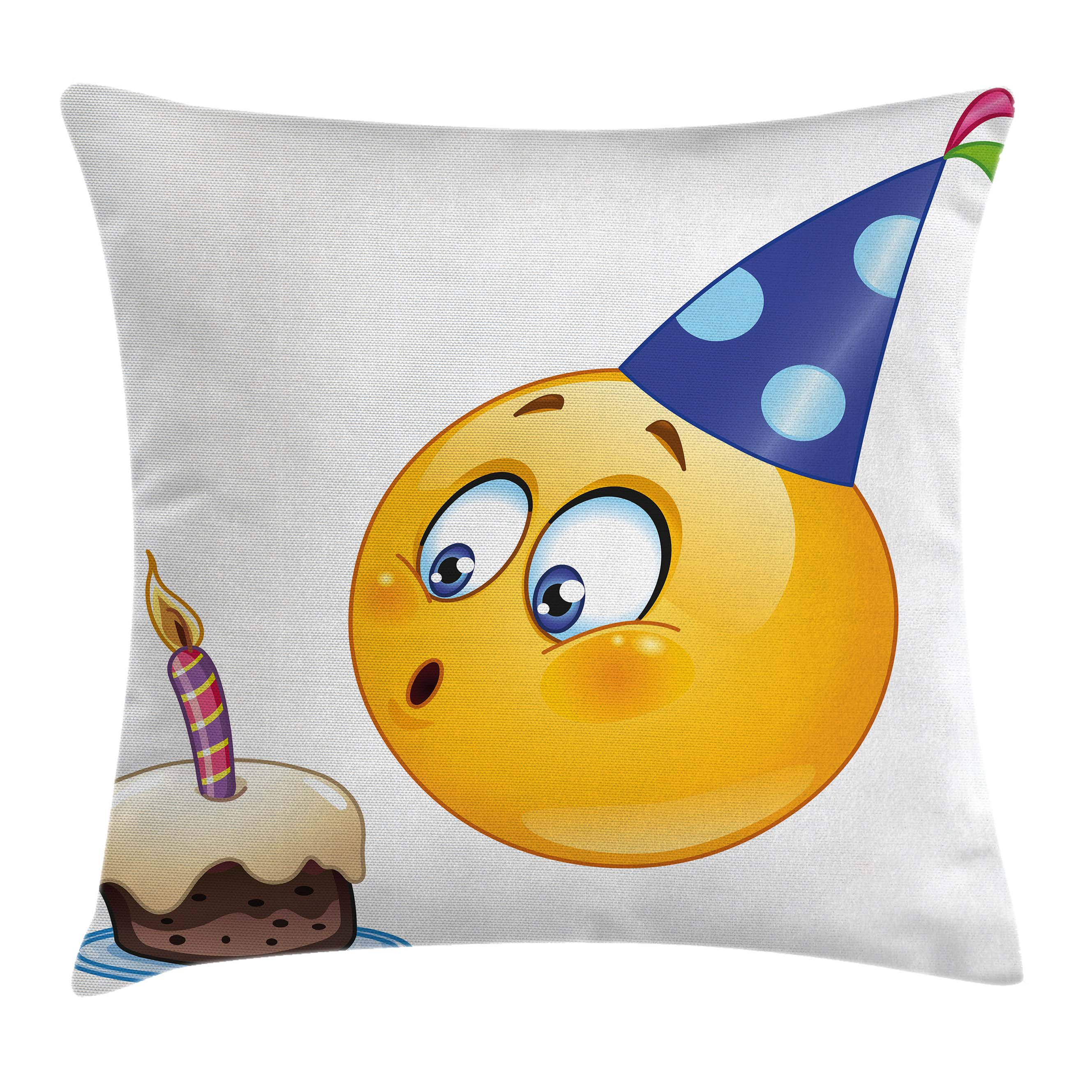 Birthday Decorations for Kids Throw Pillow Cushion Cover, Happy Emoji Face with Cone Hat Blowing Party Cake, Decorative Square Accent Pillow Case, 16 X 16 Inches, Yellow and Dark Blue, by Ambesonne