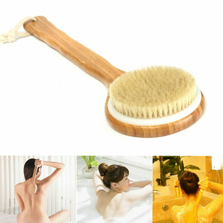 """15.7"""" Bath Brush Natural Bristle Exfoliating Extra Long Handle Shower Brush Wooden Brush Back Body Scrub Scrubber Massager Shower Skin Spa for Shower Cleaning - image 7 of 7"""