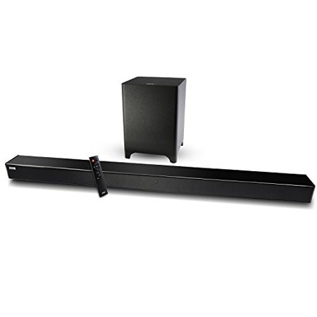 LyxPro Sound Bar System Bluetooth Soundbar Speaker Plus Wireless Subwoofer for TV, Home Theater, PC, Cellphone, Tablet & More, Includes Remote Control, DC Adapter, Wall Mount Kit & 3.5mm Cable - Raven Bar Dc