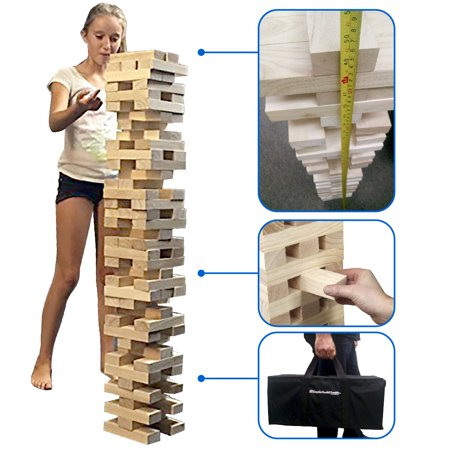 EasyGo Large Stack & Tumble Giant Wood Stacking & Tumble Life Size Tower Blocks Game, Stacks to Over 4 Feet Tall!