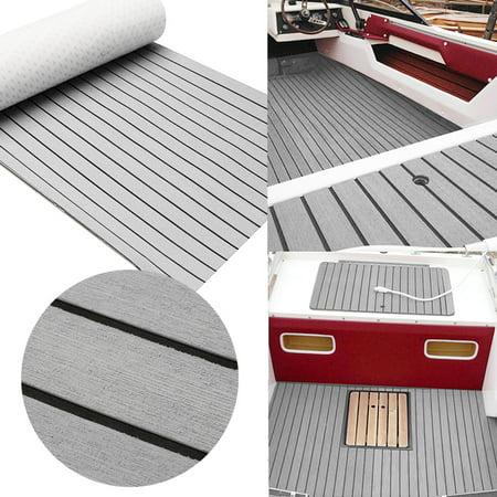 35'' X 94'' Grey Marine Flooring Synthetic Teak EVA Foam Boat Decking Sheet Self-Adhesive Mat ()