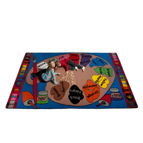 Kid Carpet Paint Palette Spanish Circle Time Indoor/Outdoor Area Rug