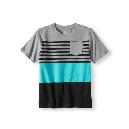 Wonder Nation Short Sleeve Fashion Stripe Crew Neck Tee (Little Boys & Big