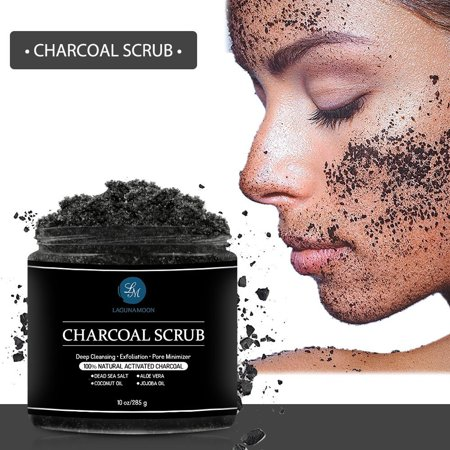 Lagunamoon Activated Charcoal Scrub,Natural Body Scrub and Facial Scrub for Deep Cleansing,10oz ()