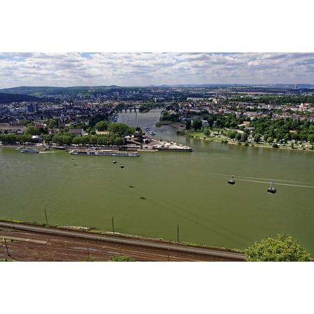 Canvas Print Koblenz German Corner River Main Rhine Landscape Stretched Canvas 10 x - Landscape Corner