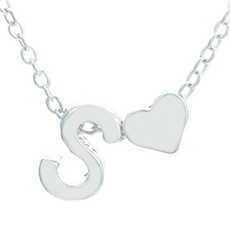 Peach Heart-Shaped Letter Necklace Elegant Initial Heart Clavicle Chain - image 1 of 8