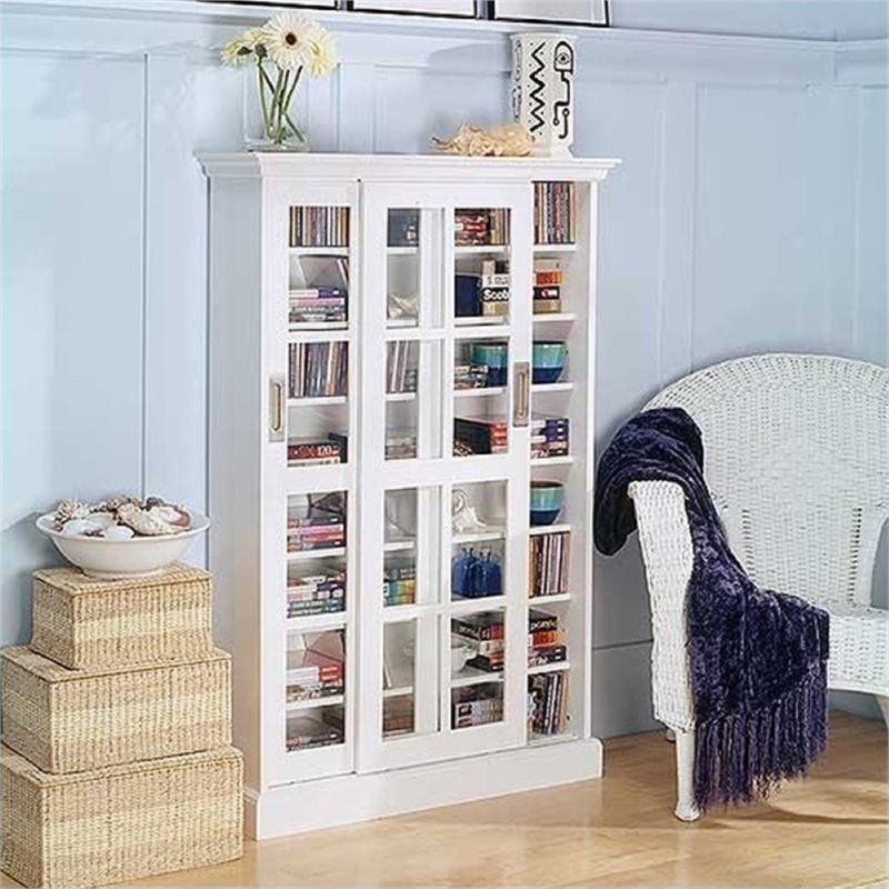 """Bowery Hill 49"""" Sliding Door Media Cabinet in White by Bowery Hill"""