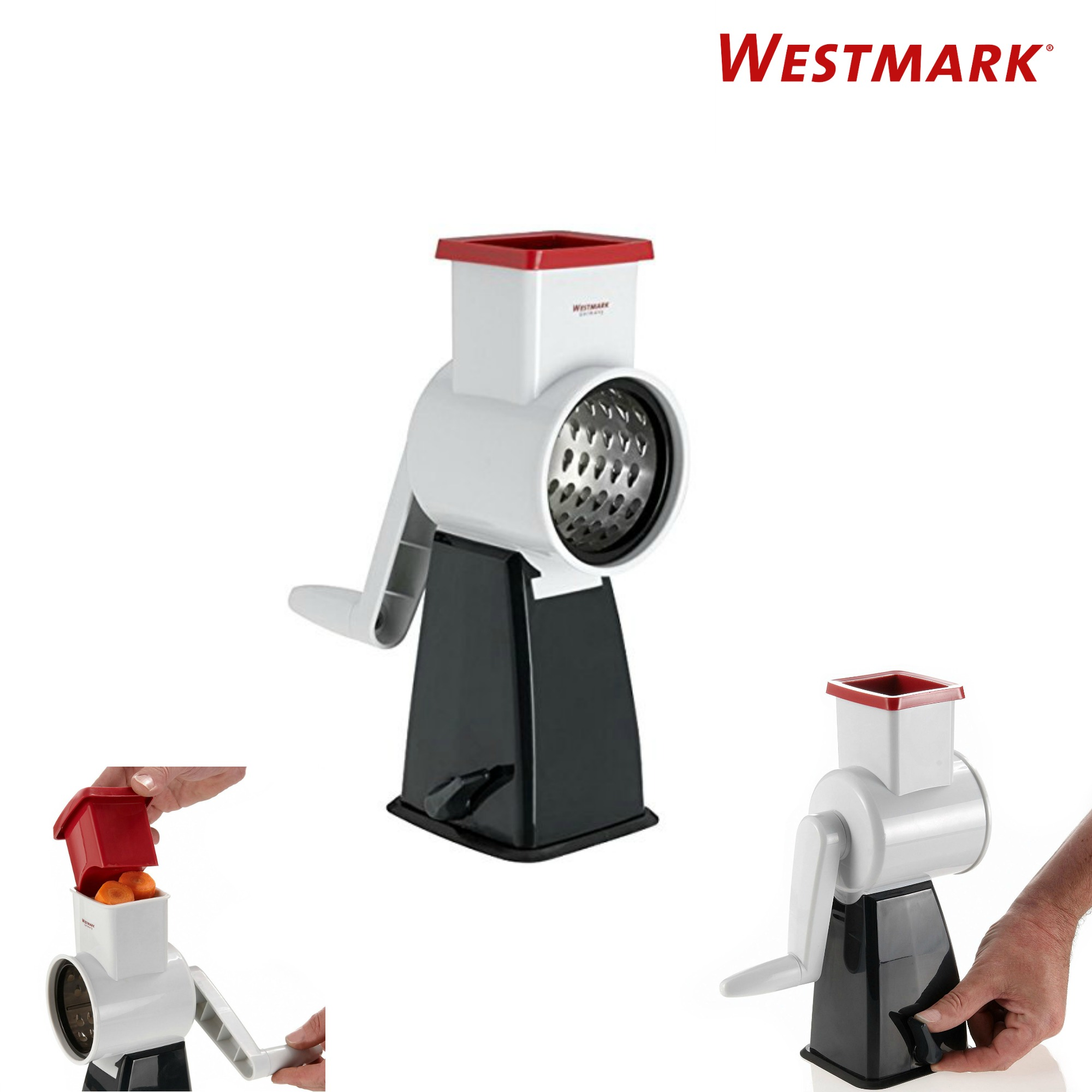 Westmark Multipurpose Rotary Cheese Grater with 4 Interchangeable Stainless Steel Drums and Non-Slip Suction Pad