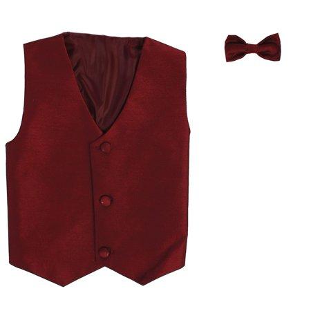 Boys Burgundy Poly Silk Vest Bowtie Special Occasion Set 12/14](Silk Spectre Outfit)