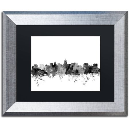 trademark fine art madison wisconsin skyline b w canvas art by