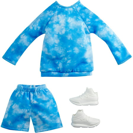 Barbie Fashions Pack: Ken Doll Clothes with Blue Tie-Dye top, Matching Shorts & 1 Pair of Sneakers, Gift for Kids 3 to 8 Years Old