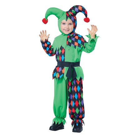 Junior Jester Toddler Costume, Size 3-4, Costume includes a jumpsuit, headpiece and belt By California Costumes