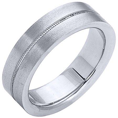 14K White Gold Mens Wedding Band 6mm Satin Milgrain Comfort Fit