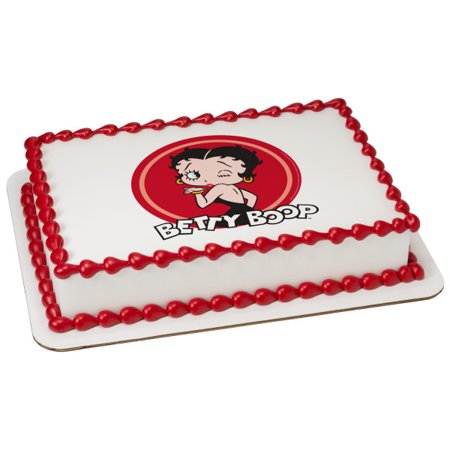 Betty Boop Party Decorations - Betty Boop Kiss & Wink 1/4 Sheet Image Cake Topper Edible Birthday Party
