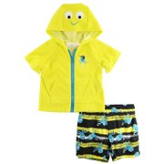 Wippette Toddler Boy Pirate Octopus Beach Terry Cover-up Swim Shorts Trunk Set