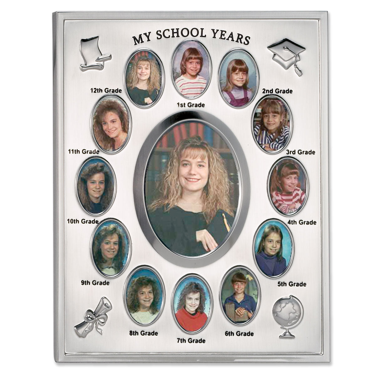 My School Years Silver Plated 8x10 Multi Picture Frame by Lawrence Frames