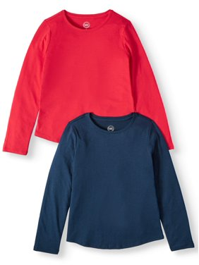 Wonder Nation Long Sleeve Crew Neck T-Shirts, 2-Pack (Little Girls, Big Girls & Plus)