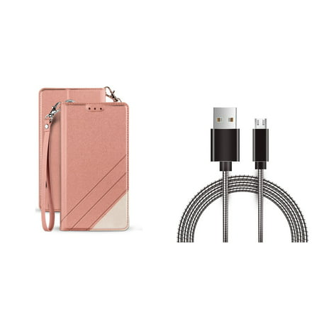 BC Synthetic PU Leather Magnetic Flip Cover Wallet Case (Rose Pink) with Metal Micro USB Cable (3 Feet) and Atom Cloth for Samsung Galaxy Amp Prime 3 2018 (Best Micro Amp For Metal)