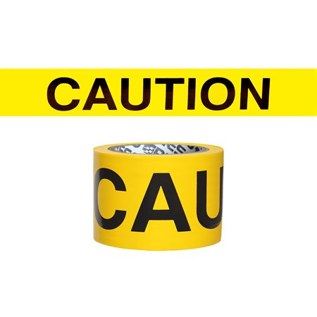 """Presco Premium Printed Barricade Tape: 3 in. x 300 ft. (Yellow with Black """"CAUTION"""" printing)"""