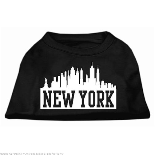 New York Skyline Screen Print Shirt Black Med (12)