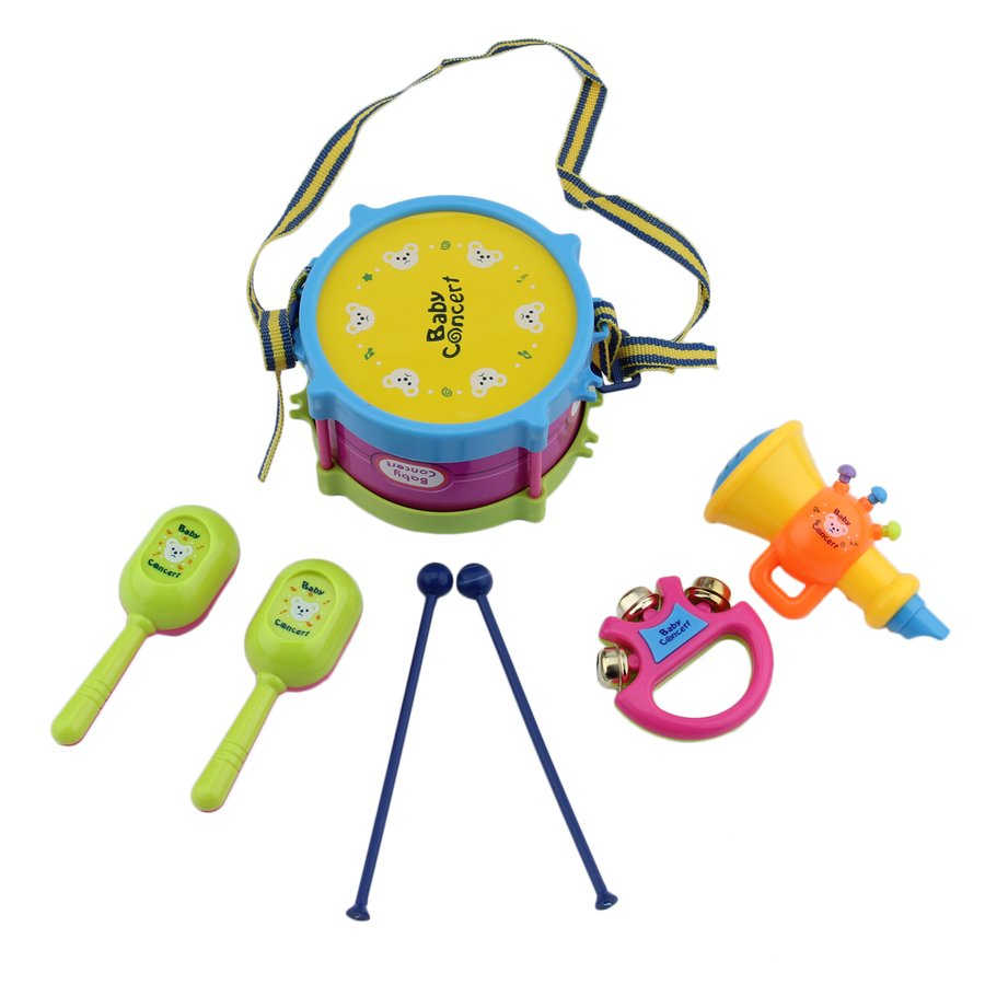 5 PCS Unisex Boy Girl Drum Musical Instruments Band Kit Kids Toy Gift Set