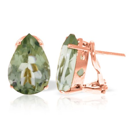 ALARRI 10 CTW 14K Solid Rose Gold Pear Shape Green Amethyst Earrings.
