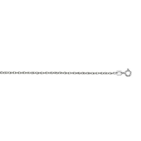 14k 16 Inch White Gold Sparkle-Cut Carded Pendant Rope Chain With Spring Ring Clasp Necklace