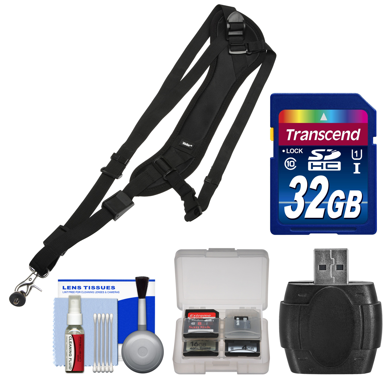 Vivitar SLING1 Padded Sling Digital SLR Camera Strap with 32GB Card + Reader + Kit