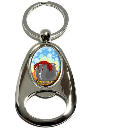 Lobster in Pot, Maine Cooking Seafood, Chrome Plated Metal Spinning Oval Design Bottle Opener Keychain Key Ring
