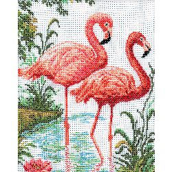 "Flamingos Counted Cross Stitch Kit-10.25""X12.25"" 14 Count"