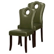 Delaney Espresso Upholstered Faux Leather Nailhead-Trim Parsons Accent Dining Chairs With Solid Wood Frame & Legs (Set Of 2)