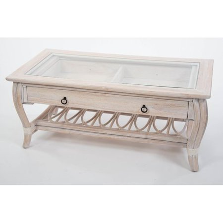 Bay Isle Home Presley Glass Top Coffee Table with Drawer ()