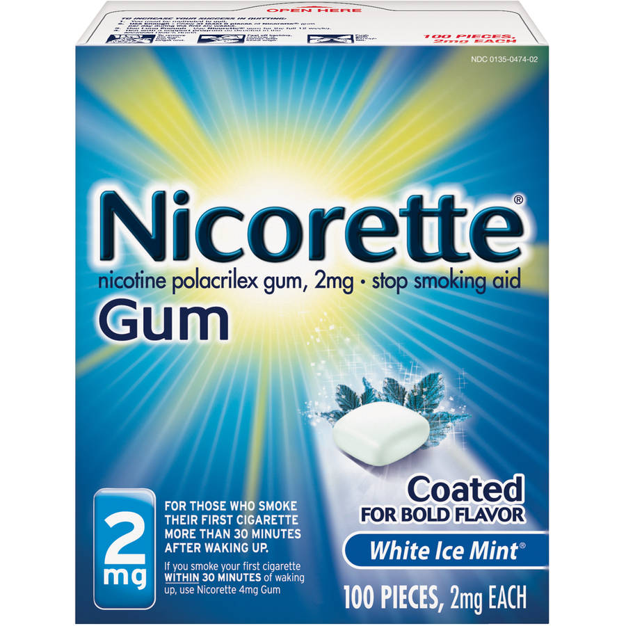 Nicorette Stop Smoking Aid Nicotine Gum, White Ice Mint Flavor, 2mg, 100 Pieces
