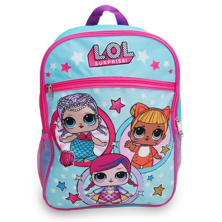 """Girls LOL Surprise! Stars Backpack 16"""" Light Blue"""
