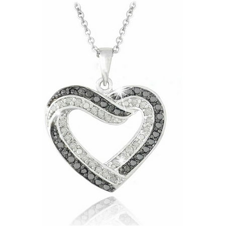 Diamond Open Heart Pendant - 0.50 Carat T.W. Black and White Diamond Silver-Tone Open Heart Necklace