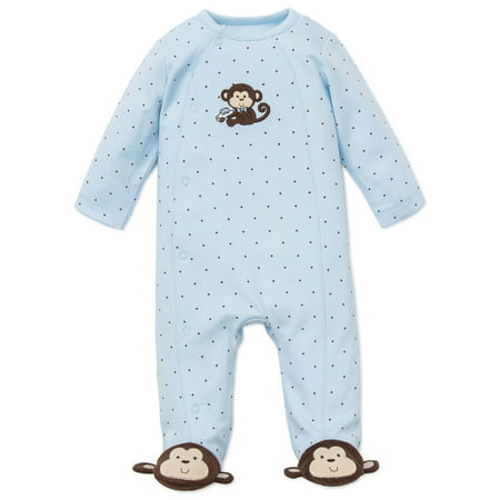 Monkey Star Snap Front Footie Pajamas For Baby with Cute Monkey Feet Boys Sleep N Play One Piece Romper Coverall Cotton Infant Footed Sleeper; Pijamas Para Bebes - Blue - Preemie - Monkey Pajamas For Toddlers